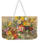 Spring Flowers And Poole Pottery Weekender Tote Bag by Albert Williams