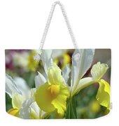 Spring Irises Flowers Art Prints Canvas Yellow White Iris Flowers Weekender Tote Bag