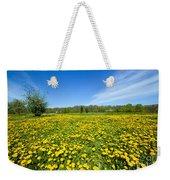 Spring Meadow Full Of Dandelions Flowers And Green Grass Weekender Tote Bag