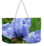Spring Raindrops Blue Iris Flower Water Baslee Troutman Weekender Tote Bag