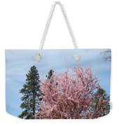Spring Trees Bossoming Landscape Art Prints Pink Blossoms Clouds Sky  Weekender Tote Bag