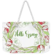 Spring  Wreath With Pink White Tulips Weekender Tote Bag
