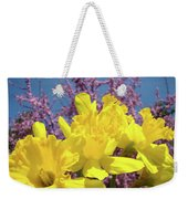 Springtime Yellow Daffodils Art Print Pink Blossoms Blue Sky Baslee Troutman Weekender Tote Bag