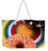 Sprinkled Donut On Circle Plate With Bowl Weekender Tote Bag