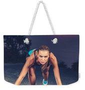 Sprinter Woman On The Start Weekender Tote Bag