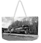 Sprintime Train In Black And White Weekender Tote Bag by Rick Morgan