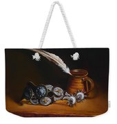 Spurs And Hand Made Pottery And Feather Weekender Tote Bag
