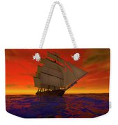 Square-rigged Ship At Sunset Weekender Tote Bag