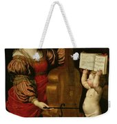 St. Cecilia With An Angel Holding A Musical Score Weekender Tote Bag by Domenichino