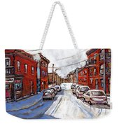 St Henri Depanneur Canadian Paintings Mini Montreal Masterpieces For Sale Petits Formats A Vendre  Weekender Tote Bag