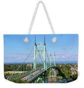 St Johns Bridge Over Willamette River Weekender Tote Bag