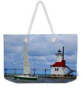 St. Joseph Lighthouse Sailboat Weekender Tote Bag