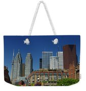 St Lawrence Market And Gooderham Flatiron Building With Cn Tower Weekender Tote Bag