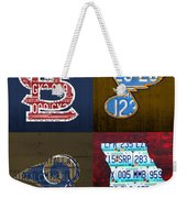 St Louis Sports Fan Recycled Vintage Missouri License Plate Art Cardinals Blues Rams Weekender Tote Bag