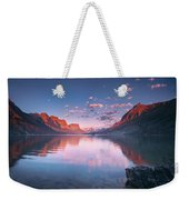 St Mary Lake In Early Morning With Moon Weekender Tote Bag
