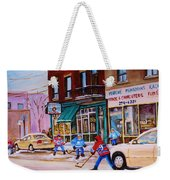 St. Viateur Bagel With Boys Playing Hockey Weekender Tote Bag