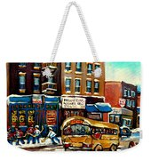 St. Viateur Bagel With Hockey Bus  Weekender Tote Bag