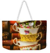 Stacked High Tea Cups Weekender Tote Bag