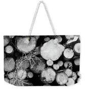 Stacked Wood Logs In Black And White Weekender Tote Bag