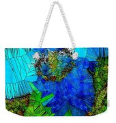 Stained Glass Blue Poppy One Weekender Tote Bag