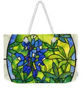 Stained Glass Bluebonnet Weekender Tote Bag