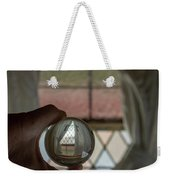 Stained Glass Window With Curtains In Crystal Ball Weekender Tote Bag
