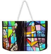 Stained Glass With Crucifix Silhouette Weekender Tote Bag