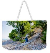 Stairway From Lake Superior Beach To Au Sable Lighthouse In Pictured Rocks National Lakeshore-michig Weekender Tote Bag