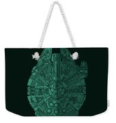 Star Wars Art - Millennium Falcon - Blue Green Weekender Tote Bag