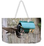 Starling On Bird Feeder Weekender Tote Bag