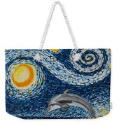 Starry Night Dolphin Weekender Tote Bag
