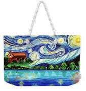 Starry Night Over The Lake Weekender Tote Bag