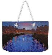 Starry Nights In Dublin Ha' Penny Bridge Weekender Tote Bag by John  Nolan