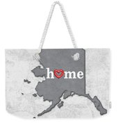 State Map Outline Alaska With Heart In Home Weekender Tote Bag