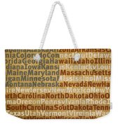 State Names American Flag Word Art Red White And Blue Weekender Tote Bag