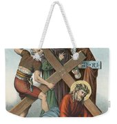 Station Ix Jesus Falls Under The Cross The Third Time Weekender Tote Bag