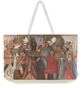 """Station Of The Cross No. 5: """"jesus Is Assisted In Carrying His Cross Weekender Tote Bag"""