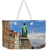 Statue Of Jan Van Eyck Beside The Spieglerei Canal In Bruges Weekender Tote Bag
