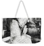 Statue Of Weeping Woman, Lafayette Cemetery, New Orleans In Black And White Sketch Weekender Tote Bag