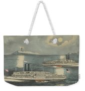 Steamboats Passing At Midnight On Long Island Sound Weekender Tote Bag