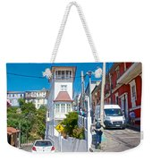 Steep Streets Up The Hills In Valparaiso-chile   Weekender Tote Bag