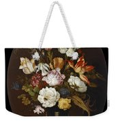 Still Life Of Flowers In A Glass Vase Weekender Tote Bag
