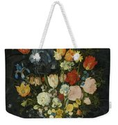 Still Life Of Flowers In A Stoneware Vase Weekender Tote Bag