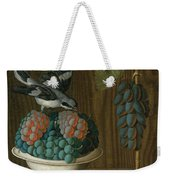Still Life Of Grapes With A Gray Shrike Weekender Tote Bag