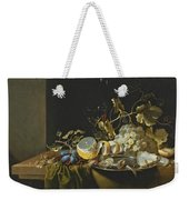 Still Life Of Hazelnuts Grapes Oysters And Other Foods On A Draped Table Weekender Tote Bag