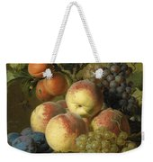 Still Life Of Peaches  Grapes And Plums On A Stone Ledge With A Bird And Butterfly Weekender Tote Bag