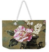 Still Life Of Pink Roses Weekender Tote Bag