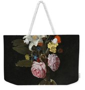 Still Life Of Roses Lilies And Other Flowers In A Glass Vase On A Marble Ledge Weekender Tote Bag