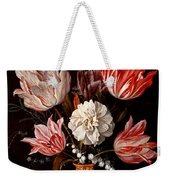 Still Life Of Variegated Tulips In A Ceramic Vase With A Wasp A Dragongly A Butterfly And A Lizard Weekender Tote Bag