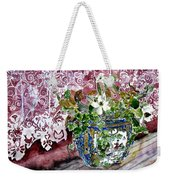 Still Life Vase And Lace Watercolor Painting Weekender Tote Bag
